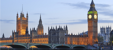 The Palace of Westminster, Big Ben and Westminster Bridge, London